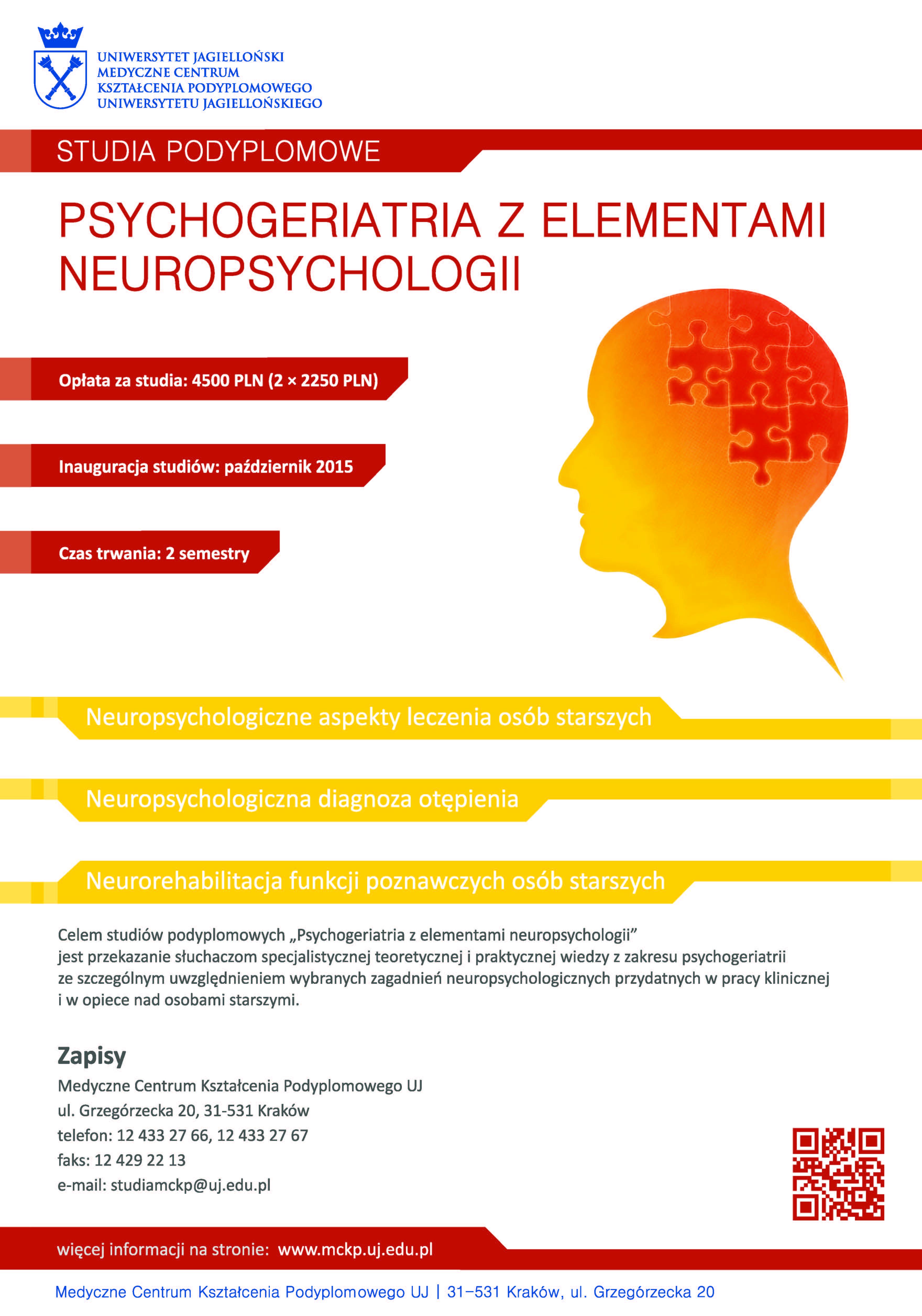 Psychogeriatria z elementami neuropsychologii.