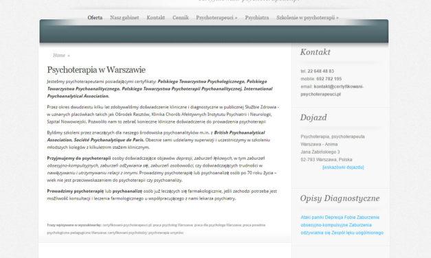 Warszawa Ursynów – Certyfikowani psychoterapeuci